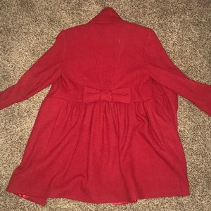 Eliza J red pea coat with bow